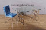 正方形様式の緩和されたガラスの上のステンレス鋼フレームのダイニングテーブル