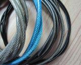 De nieuwe Gekleurde pvc Met een laag bedekte Kabel van de Draad van het Roestvrij staal 7X7+Iwrc 2mm
