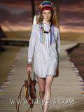 Способ 2016 европейский женщин типа Striped платье рубашки втулки хлопка длиннее