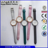 Relógios de pulso das senhoras de quartzo do relógio da cinta de couro da forma (Wy-052D)