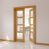 Portas exteriores residenciais de madeira contínua das propriedades do controle do clima