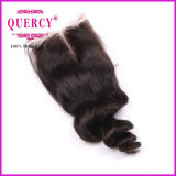 파 자연적인 색깔 크기 3.5X4 Virgin 브라질 머리 마감을 푸십시오