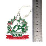 Médailles en alliage de zinc faites sur commande bon marché en bloc de Noël avec la corde argentée