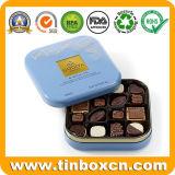 Poder de estaño de encargo cuadrada de la galleta del chocolate del rectángulo del acondicionamiento de los alimentos del metal
