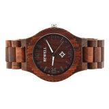 Los hombres de negocios de la moda por encargo de etiqueta privada de reloj de madera