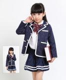 Uniformes scolaires japonais coréens européens d'élève rouge de bleu marine d'enfants d'OEM pour les vêtements blancs de relation étroite de pantalon de jupe de chemise de jupe de blazer de filles de garçons