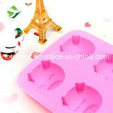 100% moulages animaux de chocolat/gâteau de formes de tête des silicones 6-Cavity de catégorie comestible