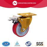 4 pouces de noyau de fer de la plaque supérieure PU Roulettes industrielles fixes de roue