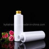 Paquet de cosmétique 100ml Bouteille PET blanc avec bouchon à vis en aluminium or Pet-19