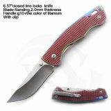 """6.57 """" закрыли нож ассистента весны лезвия сатинировки ручки G10+Rainbow Titanium"""