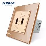 Livolo UE Cristal Gold Standard 2 pista carregador USB Vl-C792u-11/12/13/15