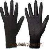Guantes negros del trabajo del poliester de la capa de la palma de la PU de Deely