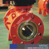 API6D 3PC Caja de engranajes montado en el muñón de acero fundido de brida Válvula de bola (P347F)
