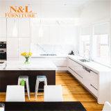N & L gabinete de cozinha lustroso elevado da laca da pintura moderna de dois blocos