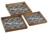 La Plaza S/3 bebida de impresión personalizada de la bandeja de madera que sirve w/Handle