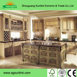 Armoires de cuisine en placage de placage en bois artificiel pour usage de cuisine