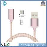 Fábrica 2 em 1 cabo magnético trançado de transferência de dados do carregador do USB do nylon multi para o Tipo-c Android