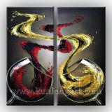 100%の手塗りの抽象的な静物画のワイングラスの油絵(KLSL-0016)