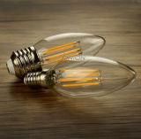 La bougie 4W de filament d'E14 E27 DEL chauffent la lampe blanche de la bougie DEL