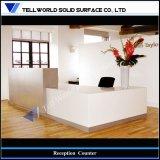 現代白いアクリルの固体表面のレセプションのカウンターの机デザイン(TW-MART-016)