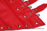 PUlederne Halter-Schultergurte Underbust Korsett-Oberseite der Frauen