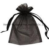 Petit sac de cordon fait sur commande promotionnel d'organza de gris argenté avec la bande estampée