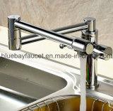 Mélangeur sanitaire de bassin de cuisine d'articles de double de traitement chrome en laiton chaud d'émerillon