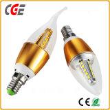 金アルミニウムハウジングLEDの球根LEDランプが付いている未来のLEDの蝋燭ライト蝋燭の球根