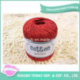 Linha grossa de tecelagem vermelha do algodão da pérola de lãs para fazer malha