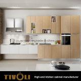 高い光沢のある白い食器棚(AP111)が付いている木製の穀物の島
