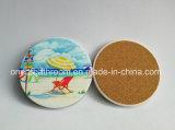 Coaster cerâmico redondo personalizado da impressão do logotipo com cortiça