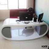 Mesa de escritório de pedra artificial lustrosa branca da mobília de escritório
