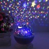 360 grados giran la luz cambiante de la noche del proyector del cielo de la estrella del color