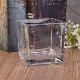 Frasco de vidro Votive da vela do cubo quadrado desobstruído