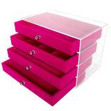 Jóias de acrílico para exibir caixas com 4 gavetas e bandeja de veludo