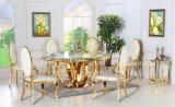 Vector de cena casero redondo de mármol de los muebles del vector de cena de Foshan del oro Sj913 determinado