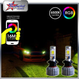 Accessoires H4 lumineux superbe H7 9005 de véhicule couleur de la puce RVB d'ÉPI de phare du véhicule 9006 H13 par la lampe de regain de Bluetooth Control DEL