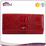 Бумажник Durable неподдельной кожи женщины конструкции черепа красного цвета длинний