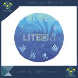 Etiket van de Veiligheid van de Laser van het Hologram van de stamper het Duidelijke Nietige die in China wordt gemaakt