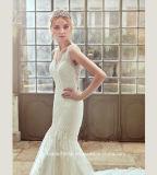 Vestido de casamento traseiro completo Ya055 da praia do laço do vestido nupcial da praia