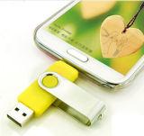 PVC OEM OTG Swivel USB Flash Drive com logotipo personalizado 2GB 4GB 8GB 16GB 32GB