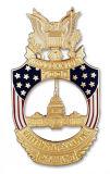 La insignia de cuero de encargo de la policía de seguridad de los EEUU con el sostenedor