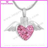 Heart Angel Wings Urn Necklace Pingente de crema de superfície de cristal Lembrança de cenouras memoráveis (IJD9770)