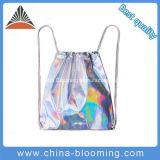 Moda Saco Gymsack personalizado de PVC Prata mochila para roupa suja