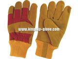 Winter handschoen-3083 van de Palm van het Leer van de Koe van de premie de Gespleten