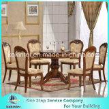 Tipo tabela clássica e cadeiras de Europa do estilo da madeira contínua de tabela de jantar ajustadas