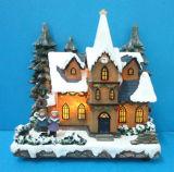 Пластмассовый рождественские украшения 11'' зажженные хора церкви Рождества вокруг дерева с адаптером
