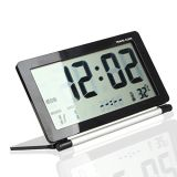 Ultra-Slim Digital Travel Pocket Fold Multifuncional Desk Desk Alarm Clock com data Temperatura Display