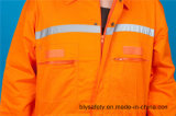 Longs vêtements de travail de combinaison de sûreté du polyester 35%Cotton de la chemise 65% avec r3fléchissant (BLY1017)