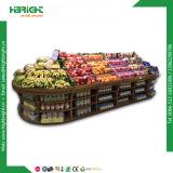 Séries da cremalheira de indicador 3 da fruta e verdura do supermercado com espelho
